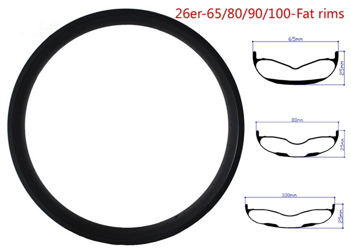 Carbon Fat Bike rims 26er 26inch Rim 65 80 90 100mm Width 25mm Depth Double Wall Hookless Tubeless Compatible