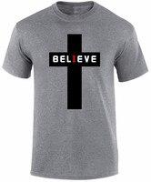 Bawełna Mężczyźni Odzież Mężczyzna Slim Fit T Shirt 2018 Lato Sprzedaż Believer Christian Jezus Wiara Religijna Chrzest Urodzony Ponownie