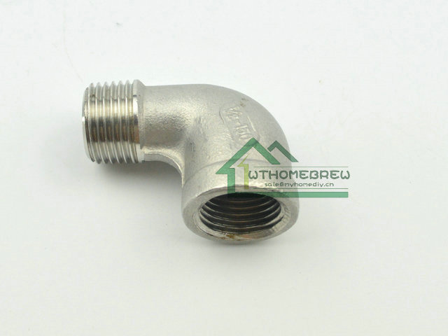 "304 stainless steel 90 Degree Elbow - 1/2""FPT x 1/2""MPT  Beer Brew Hardware Pipe Fitting - Retail and Wholesale"