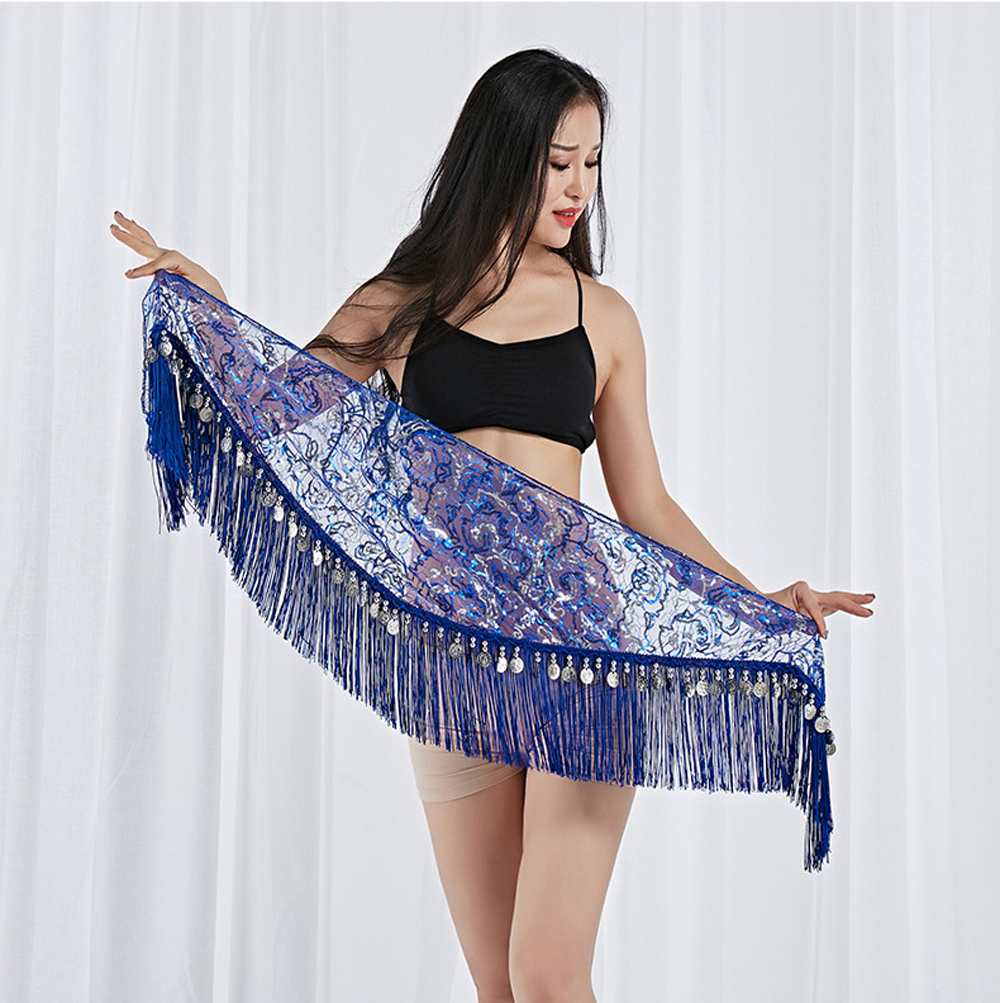 2019 New Dance Clothes Girls Belly Dance Hip Scarf Lace+Gold Coins Dancing Belt Gold and Silver 9 colors