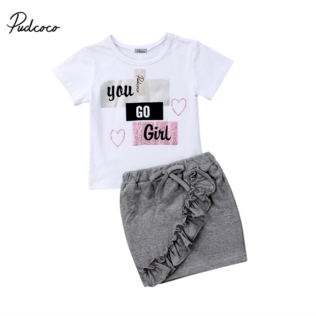 cb79708bed87 Pudcoco 2018 New Baby Little Girls Clothes Sets Summer Letter Print T-shirt  Tops + Ruffle Pencil Skirt 2Pcs Outfits Kids Set