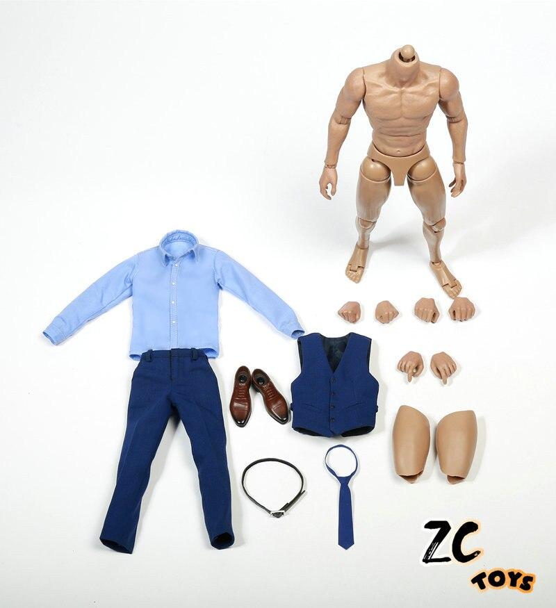 ZC TOYS 1 6 Scale Gentleman Suit Clothes Blue Costume Set Fit 12 Male Figure