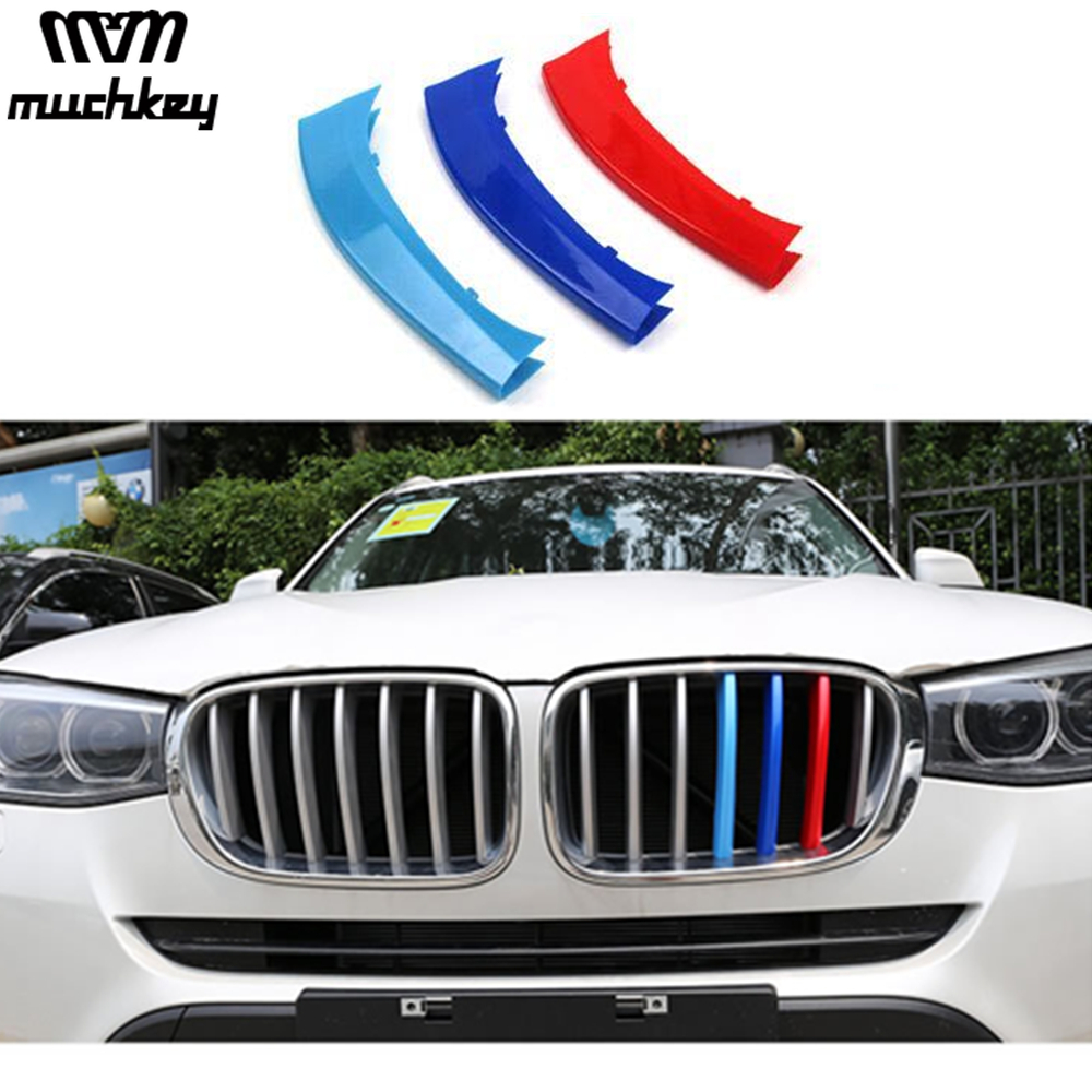 3D M Car Front Grille Trim Strips Grills Cover Performance Decoration Stickers For BMW X3 X4 F25 F26 2011 to 2017 7 Grilles 3Pcs x3 f25 x4 f26 front bumper grills for bmw x3 x4 f25 f26 2014 present model kidney grille mesh