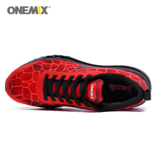 Onemix Sport Shoes Men Running Shoe Elastic Red Black Sneaker Air Cushion Athletic Trainer Man Training Size EU 39-47 US 12 13