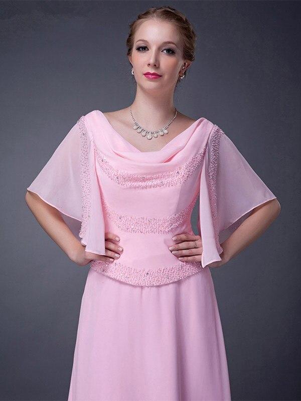 Rosa 2018 Madre de la novia Vestidos a-line media mangas gasa con ...