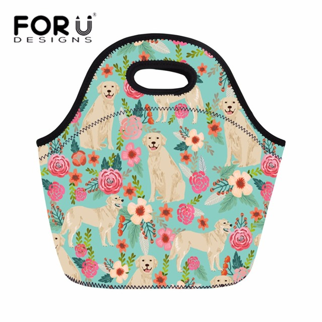 Forudesigns Cute Lunch Bags For Kids Children Insulated Thermal Box Food Bag Women Golden Retriever