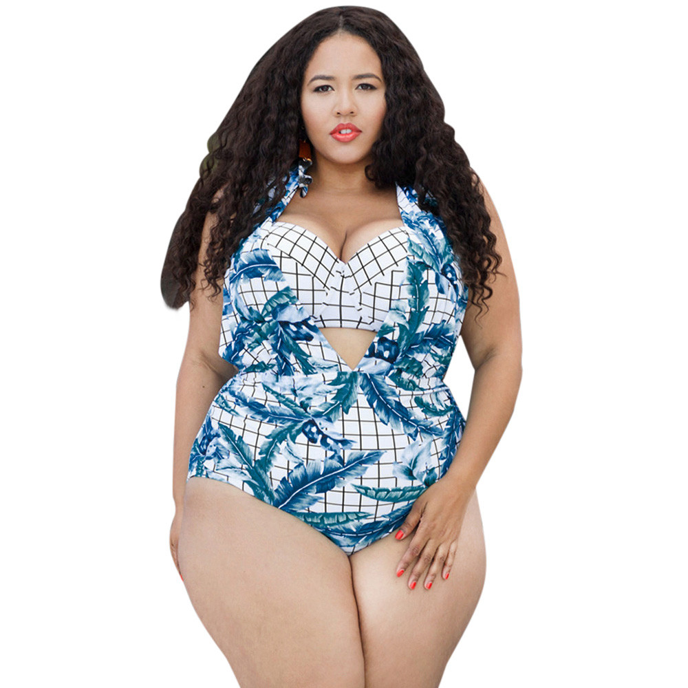 1 Set Plus Size Women Swimsuit Push Up Summer Beach Floral Monokini Hanging Neck Banana Print Padded Bra Swimwear Drop Ship Be Friendly In Use