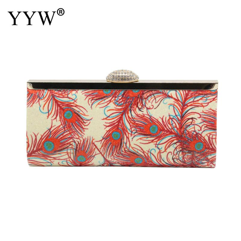 Handbag Evening Clutch-Bag Vintage-Box Feather-Pattern Chain Crossbody-Bags Party-Pouch