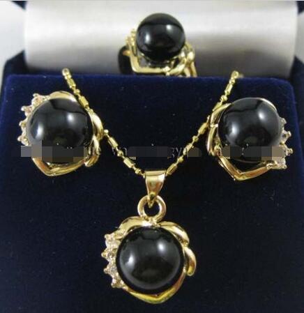 d9f150b38369 Precio al por mayor 16new   negro piedra rica Pendientes anillo   COLLAR  COLGANTE set AAA