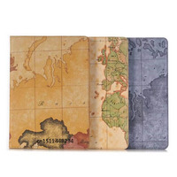 For Apple Ipad New 9 7 2017 Case Fashion Map PU Leather Coque Stand Wallet Card