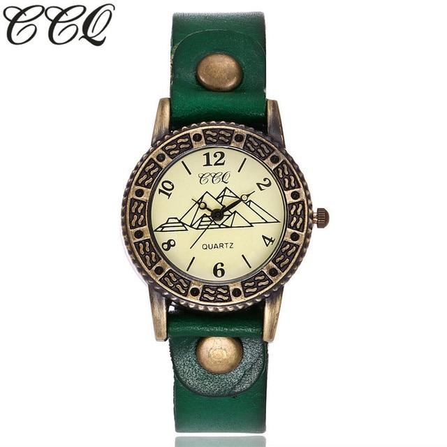 CCQ Brand Vintage Fashion Pyramid Watch Unisex Casual Cow Leather Quartz Watch W