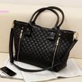 Hot! New Design Black Retro Women PU Quilted Shoulder Tote Bag Office Lady Fashion Handbag Free Shipping