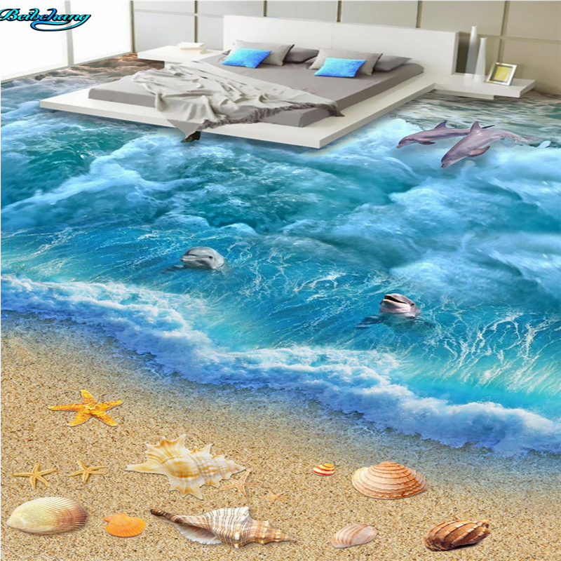 Beibehang Large Custom Flooring 3D Ocean World Floor Living Room Bedroom Kitchen Bathroom Decoration Painting