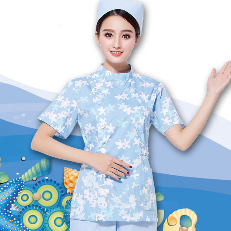 Buy new sky blue work wear uniforms for Spa uniform blue