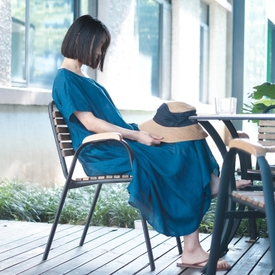 LinenAll Studio herbe teinture bleu teinture plante teinture | 100% lin à manches courtes robe [été]