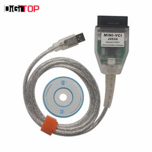 Cheapest MINI VCI para TOYOTA Solo Cable Apoyo Toyota TIS OEM de Software De Diagnóstico de Alto rendimiento con la CPU DEL BRAZO adentro