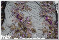 Purple Black Gauze Embroidery Paillette Gold Thread Peacock Embroidery Applique Lace Cheongsam Fabric