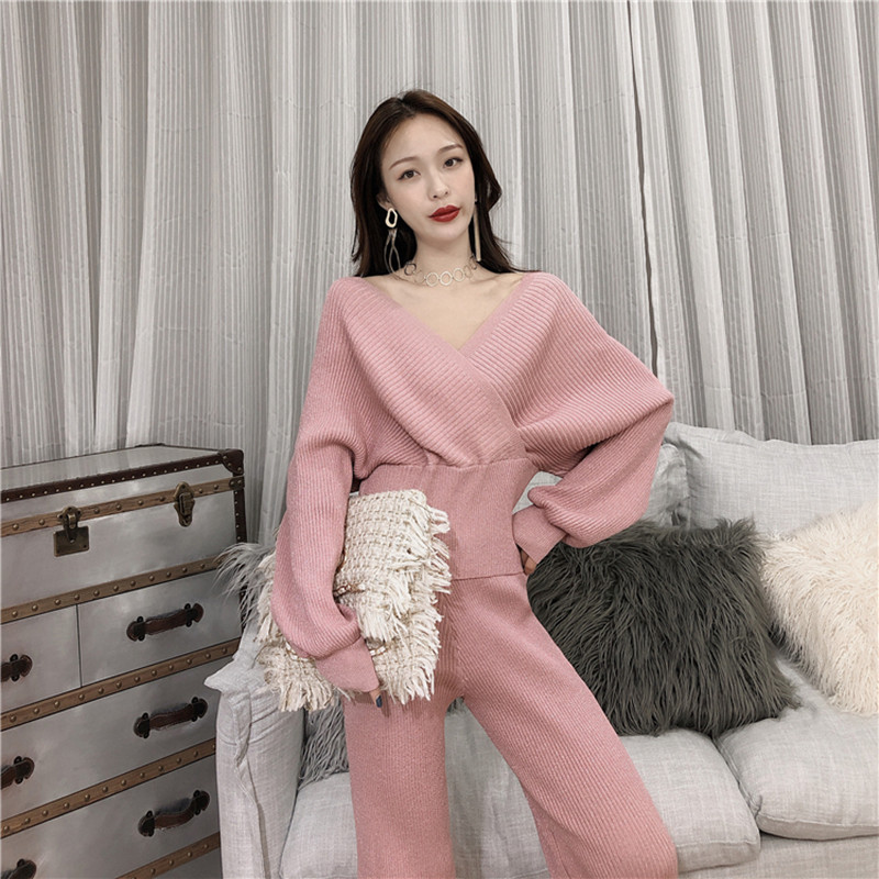 HIGH QUALITY Women V Neck Knitted Cardigans Tops+Pants 2 Pieces Sets Clothing Sets Casual Knit Tracksuits