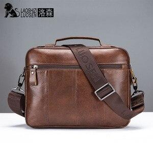 Image 5 - LAOSHIZI Echtem Leder Aktentasche Männer Schulter Tasche Weiche Rindsleder Umhängetasche Vintage Männlichen Handtaschen Business Tote
