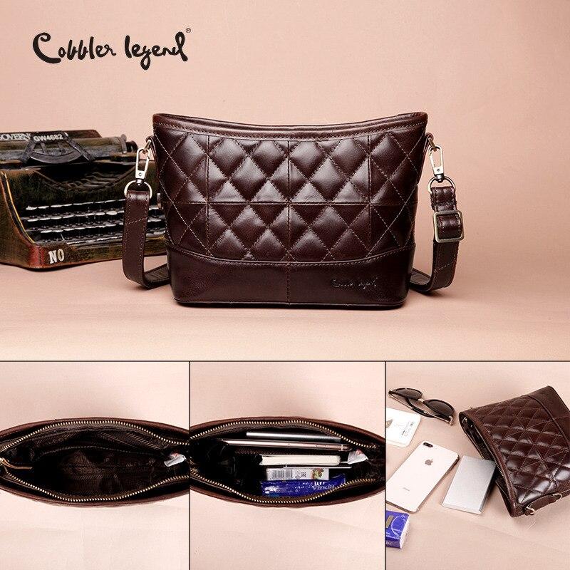 Cobbler Legend Genuine Leather Hobos Bag Women Messenger Plaid Ladies Crossbody Bag Trendy Cowskin Small Shopping Shoulder Bag