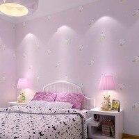 Mẫu Giáo bé không dệt hình nền thỏ nhỏ girl boy màu hồng dễ thương cartoon phòng ngủ trẻ em phòng ngủ TV backdrop tường giấy