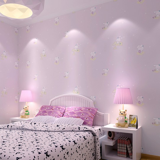 baby Kindergarten non-woven wallpapers small rabbit girl boy pink cute cartoon bedroom children bedroom TV backdrop wall paper multicolor children room wall paper roll non woven vertical strip wallpapers for baby boy girls bedroom wall mural pink blue
