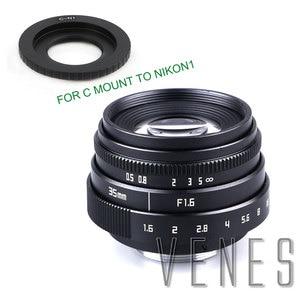 Image 3 - Jvenes Mini 35mm f/1,6 APS C TV lente + C Macro anillo adaptador de cámara para Micro 4/3/Pentax Q OM DE M10 II E M5 IIE M1 E M5