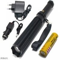 Lanterna Powerful Telescoping Led Cree Xml T6 Flashlight Tactical Torch Baton Flash Light Self Defense 18650