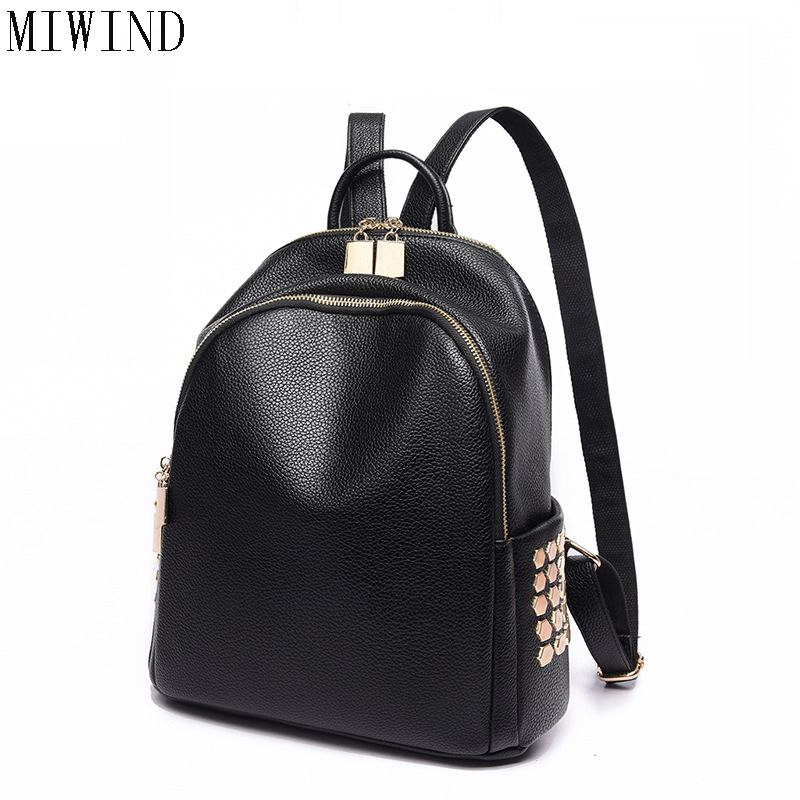 MIWIND High Quality PU Leather Women Backpack Rivet Style School Backpack Vintage Women Shoulder Bag Girls