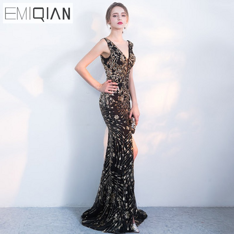 New Designer Pageant Gown Sexy V Neck Mermaid Gold Sequin Long