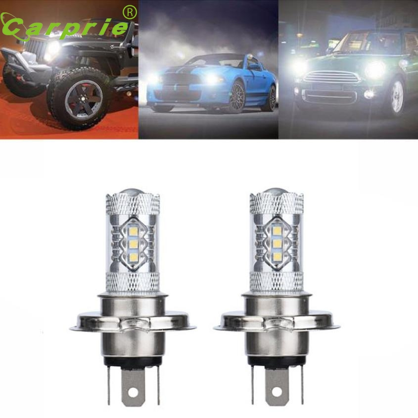 Car-styling 1pair White H4 80W 9003 HB2 LED Fog Light Bulb 1500LM High Low Beam Headlightor28