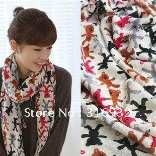 Naughty bear bright scarf / Hand in Hand Bear scarf / tassel+ rectangular + polyester cotton
