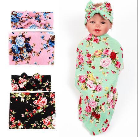 New baby пеленальный одеяло и бантом оголовье установить цветочные детское одеяло новорожденный фотографии реквизит муслин ребенка пеленать обертывание