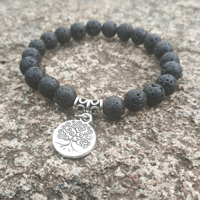 644e7d59ca664 Tree Of life Alloy Charms 8mm Black Lava Stone Beads DIY Essential Oil  Perfume Diffuser Bracelet Stretch Yoga Jewelry