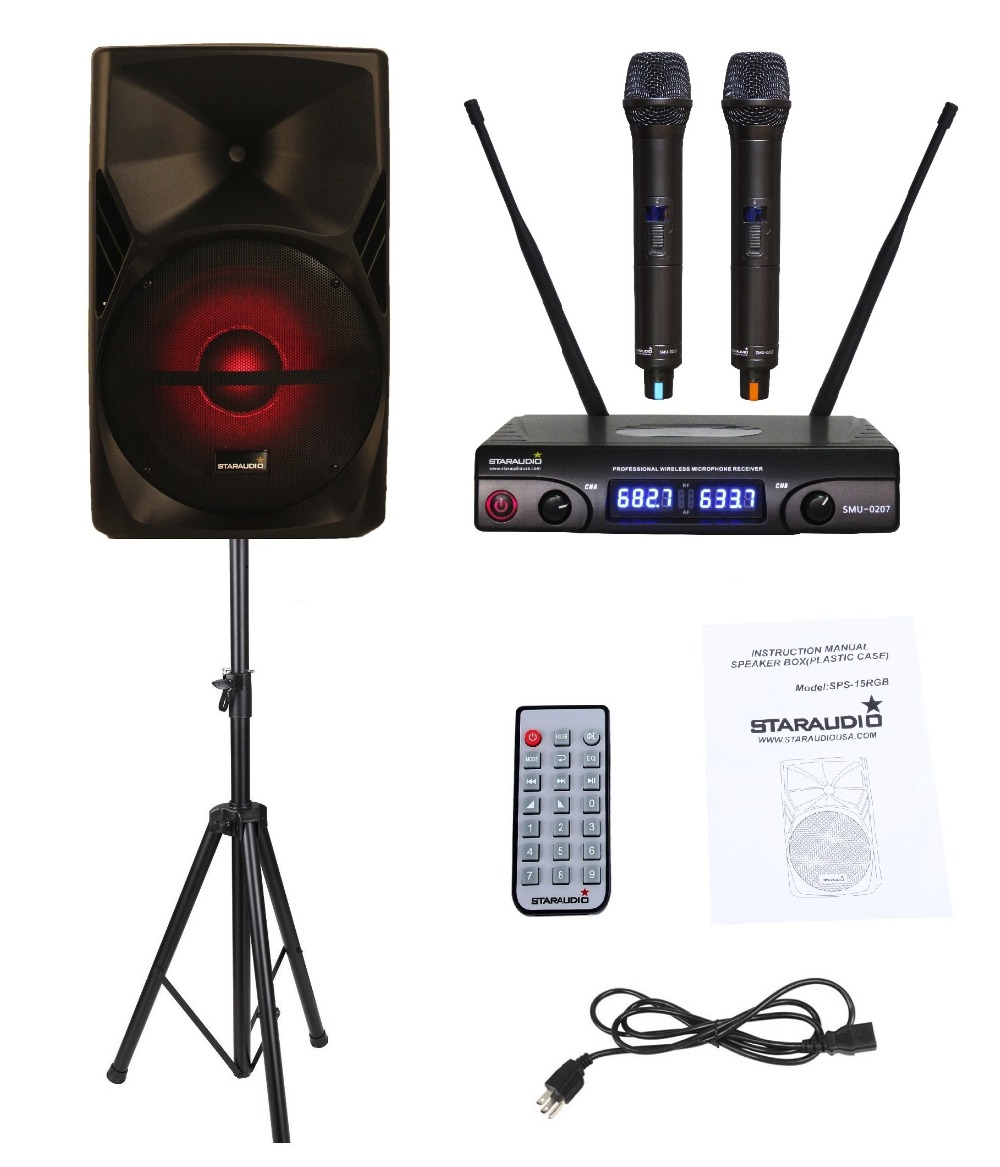 STARAUDIO SPS-15RGB 15 3500W PA DJ Stage Powered Active Stage Karaoke Speaker with Stand 2CH UHF Mic Stand