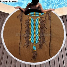 Bear Totem/Native Indian Bath Towel for Beach Thick Round 3d print Fabric Quick Compressed Towel new style-6 indian elephant print chiffon round beach throw