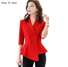 Ladies White Red Burgundy Office Blazer Womens Slim Irregular Asymmetry Vintage Peplum Suit Jacket Plus Size Women Work Coat 4XL