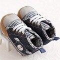 Детские Мокасины 0-18 Месяцев Baby Boy Мягкой Подошвой Кроватки Холст Обувь Повседневная Кружева Prewalkers 11 12 13 детские сапоги