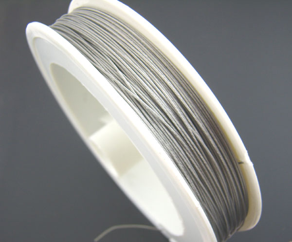 Doreen Box Lovely 1Roll Antique Silver Tiger Tail Beading Wire tiger tail 0.45mm 56M (B01398)