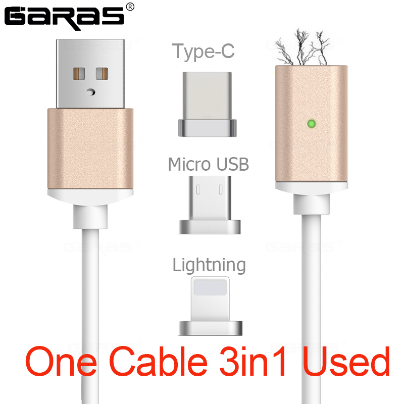 GARAS USB Type C/IOS/Micro USB 3IN1 Magnetic Cable Type-C USB-C Fast Charger Adapter Magnet Cable For IPhone Mobile Phone Cables