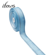 5Y/lot 38mm Grosgrain Ribbon Light Blue Cowboy Color Tape DIY Hair Bows Handmade Crafts Party Home Textile Decorative Materials off white color gold purl twill ribbon 1 1 2 38mm handmade wedding diy crafts tape