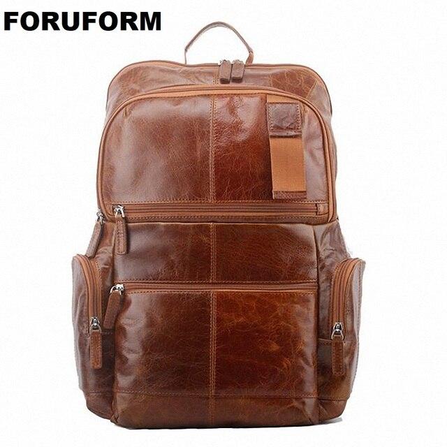 Brand Genuine Leather Men Backpack Bags Large Men Travel Bag Luxury  Designer Leather School Bag Laptop ba4bb78d509fc