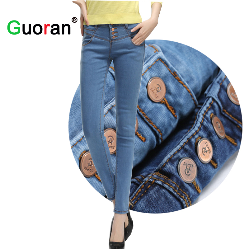 {Guoran} High Waist Button Denim Jeans Trousers For Women Plus Size Blue Stretch Female Slim Pencil Pants Femme pantalon Legging rosicil new women jeans low waist stretch ankle length slim pencil pants fashion female jeans plus size jeans femme 2017 tsl049