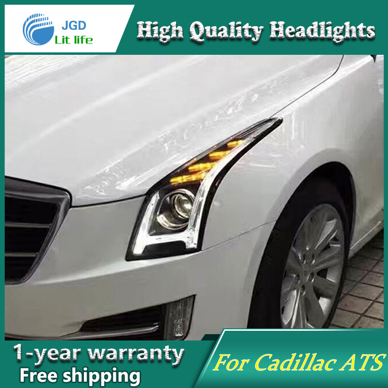high quality Car Styling for Cadillac ATS Headlights LED Headlight DRL Lens Double Beam HID Xenon Car Accessories hireno car styling for toyo ta corolla 2011 13 headlights led super bright headlight drl xenon lens high fog lam