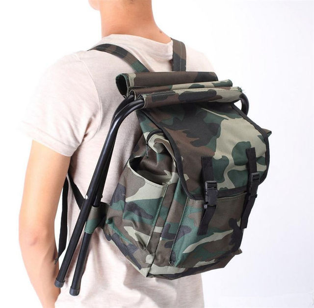 Portable Camouflage Outdoor Bags Chair Oxford Cloth Steel Tube Light Weight  Outdoor Camping Hiking Fishing Chairs