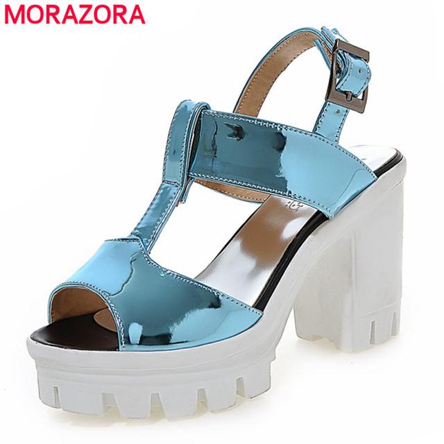 Plus size 34-43 2016 nova moda com tira no tornozelo mulheres sandálias plataforma verão quadrados saltos altos partido sapatos de casamento mulher