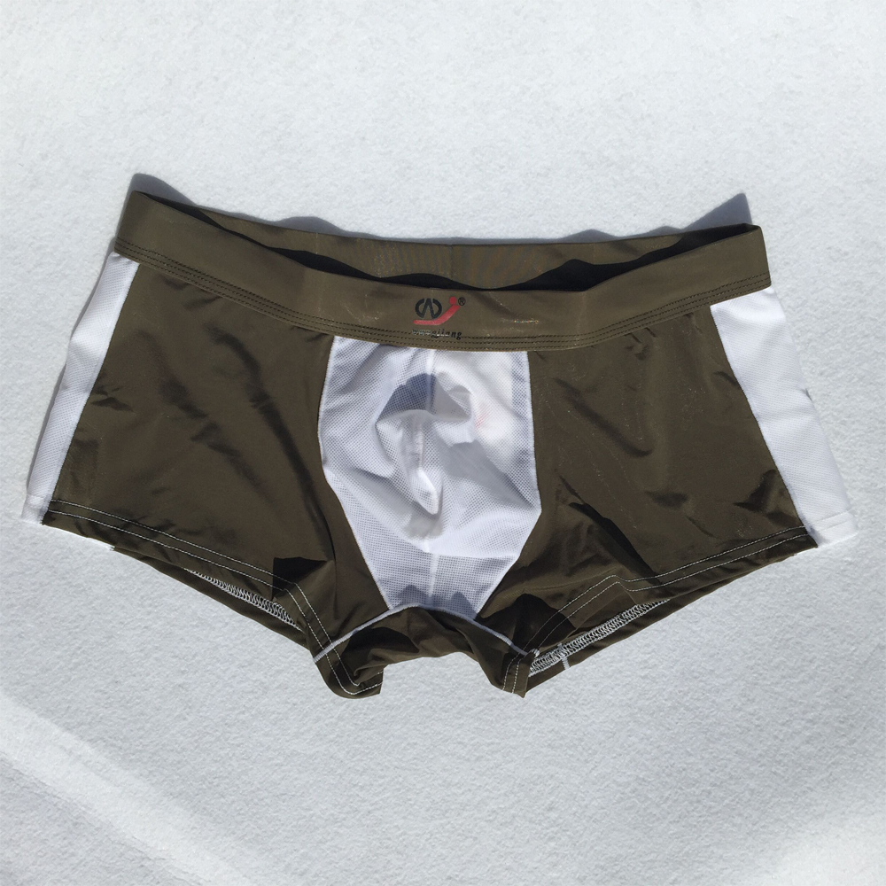 Underwear Men <font><b>Boxer</b></font> <font><b>Shorts</b></font> Cueca <font><b>Sexy</b></font> Ice Silk Slip Gay Men Underwear U convex pouch Panties Spandex Patchwork <font><b>Boxers</b></font> breathable image
