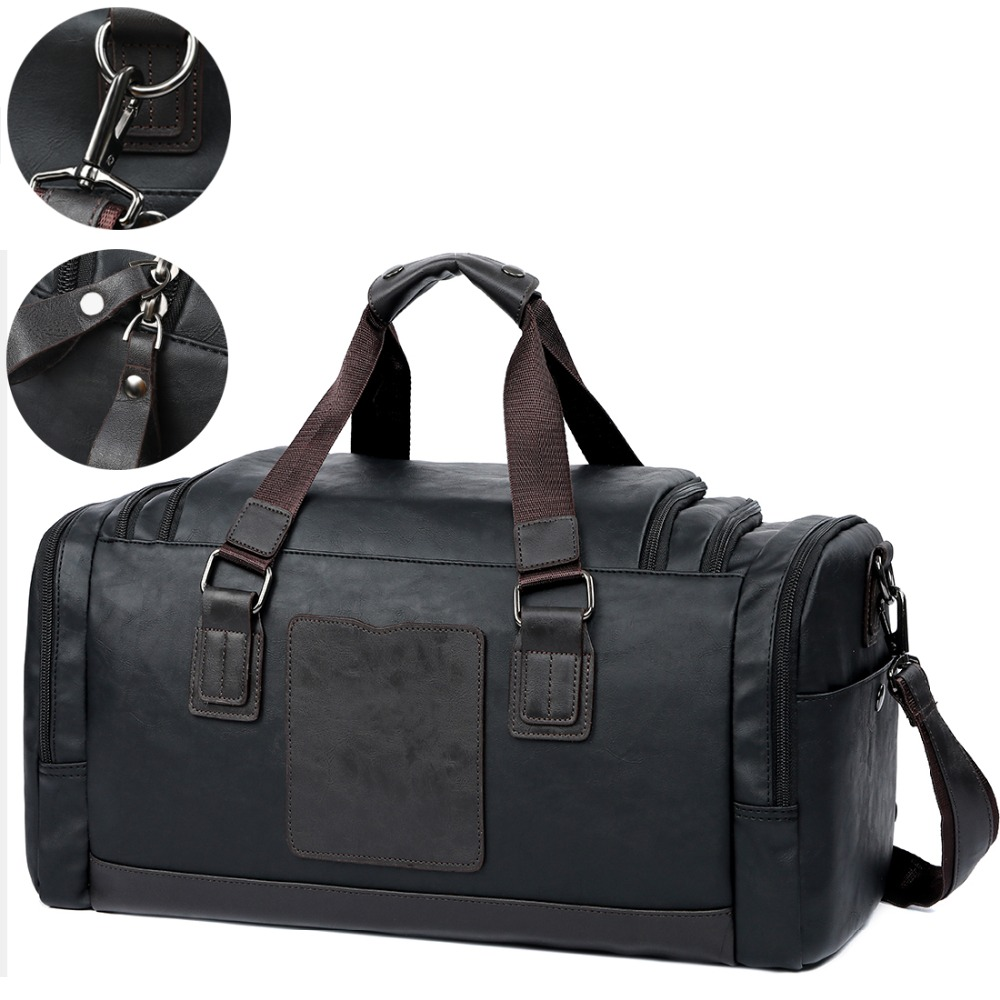 Leather Travel Bag For Men 10.5Inch Ipad Bag Solid Blacktravel Duffle Male Casual Handbag New