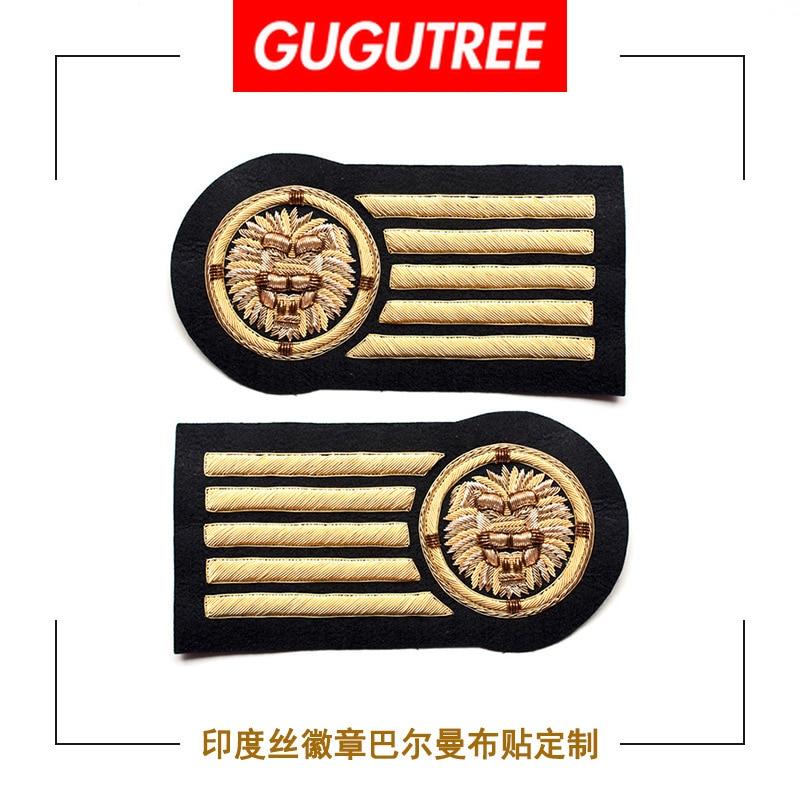 GUGUTREE inde soie broderie rang lion armée dessin animé patchs badges appliques patchs pour vêtements DZP-125