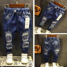 Штаны для мальчиков, джинсы модные джинсы для мальчиков на весну и осень, детские джинсовые брюки детские рваные винтажные рваные штаны с потертостями для детей возрастом от 2 до 7 лет